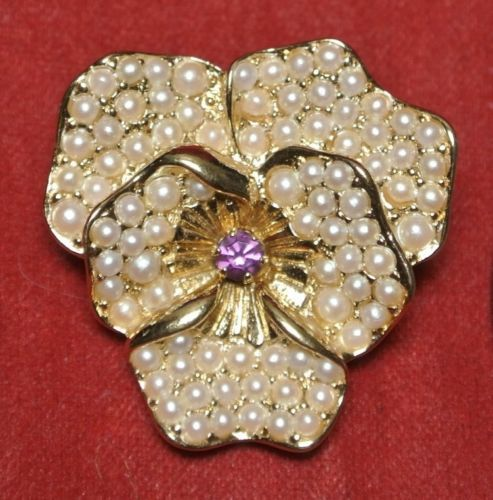 Vintage Du0027orlan Signed Gold Tone Faux Pearl Pansy Flower Brooch W/ Purple  Stone