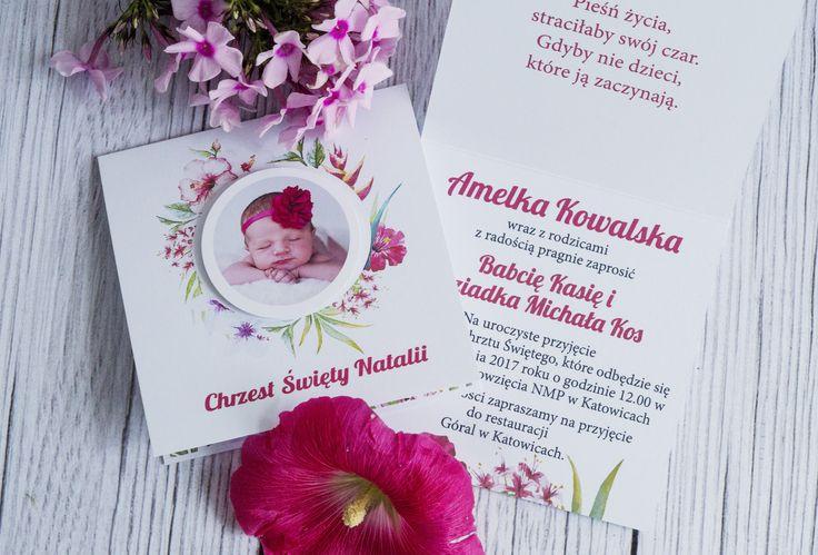 Oryginalnezaproszenie z motywem kwiatów i zdjęciem dziecka na roczek lub chrzest.  http://sklep.neinka.pl/
