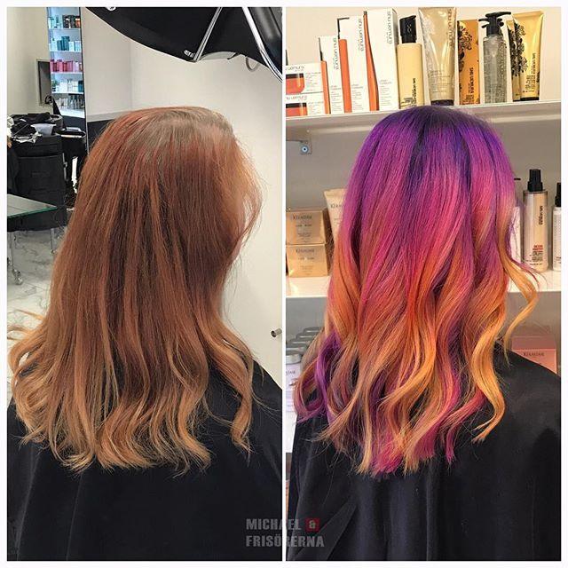 Vilken modig kund! Hur coolt var inte detta?? 🌈💛💖💜 #pravana #coloredhair #rainbowhair