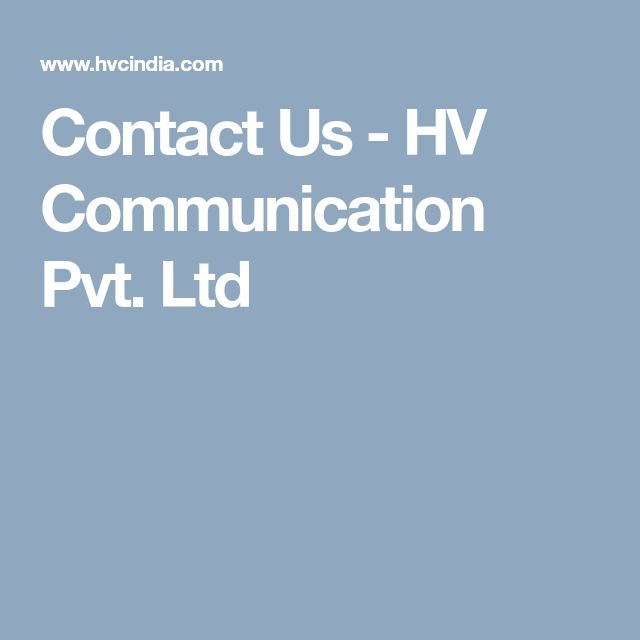 Contact Us - HV Communication Pvt. Ltd