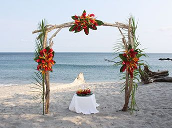 beach wedding arches | Tropical Wedding Arch in Costa Rica | Ylang Ylang Beach Resort