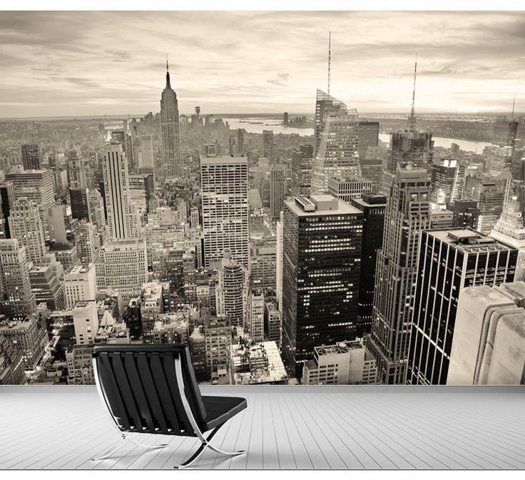 Бесплатная доставка черный и белый обои городской городского пейзажа большой пользовательский 3D обои купить на AliExpress