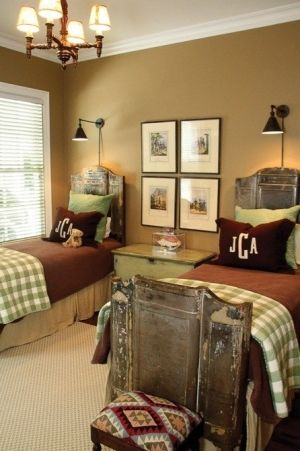 Classy masculine guest bedroom with twin beds by lela