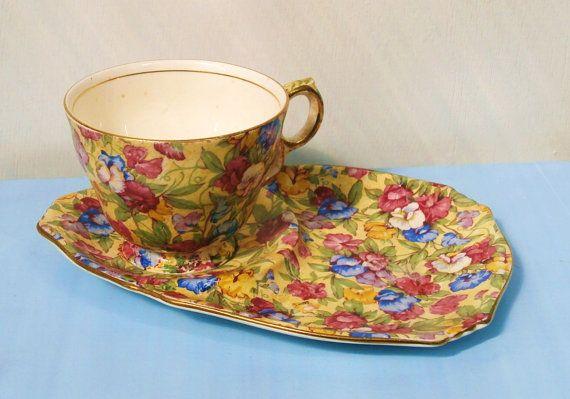 Royal winton sweet pea petit d jeuner par for Set petit dejeuner porcelaine