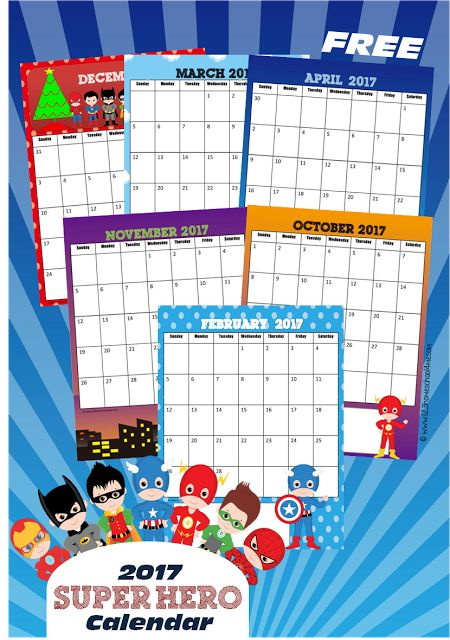 Calendar Drawing For Kids : Free super hero calendar kids drawing coloring pages