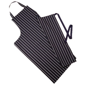This stripped butcher's apron will protect your clothes and keep you looking smart in the kitchen.