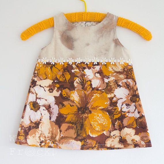 Girls A-Line Dress Vintage Fabrics Eco-dyed Orange Size 3