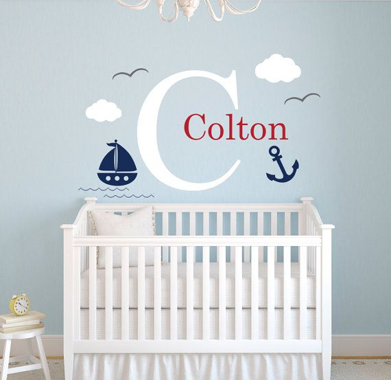 Nautical Name Wall Decal  Little Sailor Room Decor  Custom