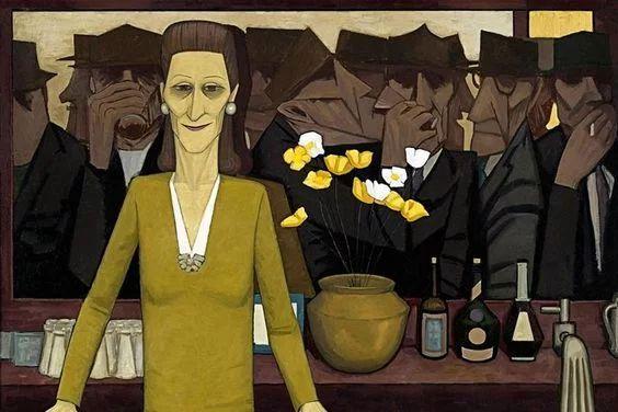 Fotka: Artist: John Brack Titled: The Bar  #painting #artist #art