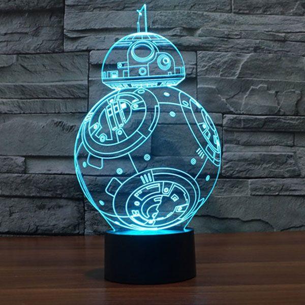 Star Wars Bb 8 Shape Decorative 3d Atmosphere Lamp Rgb Led Colorful Night Light 3d Led Night Light 3d Led Light 3d Led Lamp