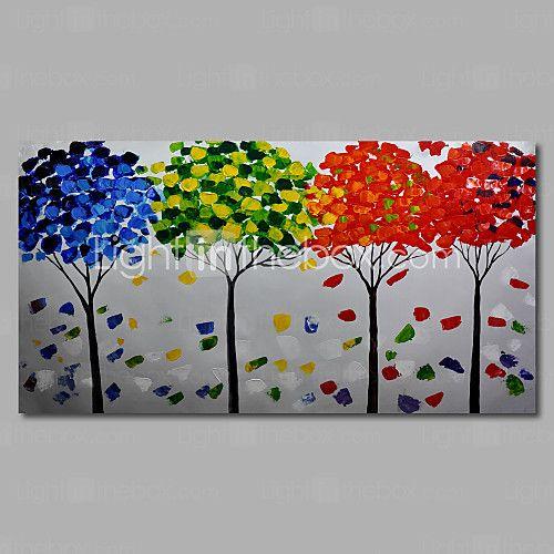 håndmalede abstrakte moderne oliemaleri lærred deco kunst landskab træer én paneler - USD $65.99