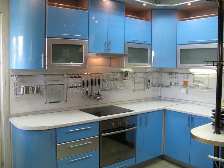 Голубые кухни. Дизайн кухни голубого цвета