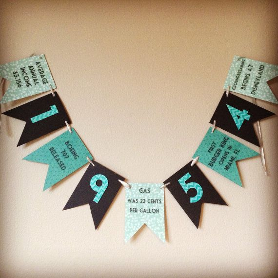 This Fun Facts banner is a great addition to any birthday party, graduation, anniversary, or other special event. This banner recognizes the year
