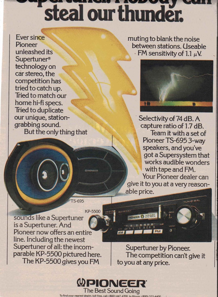 1980 Pioneer KP-5500 cassette stereo with Supertuner, TS-695 3-way speakers.