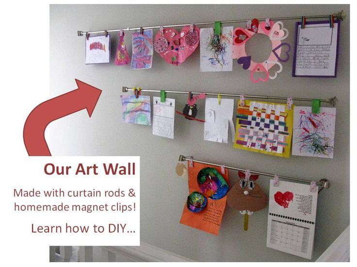 16 best wall art images on pinterest display kids artwork diy art wall with curtain rods and magnet clips could do the same thing with ikea dignitet curtain wire binder clips or clothes pins solutioingenieria Images