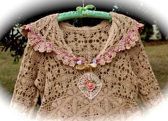RESERVED MRTHA Boho Vintage Style Crocheted Short Dress by IzzyRoo
