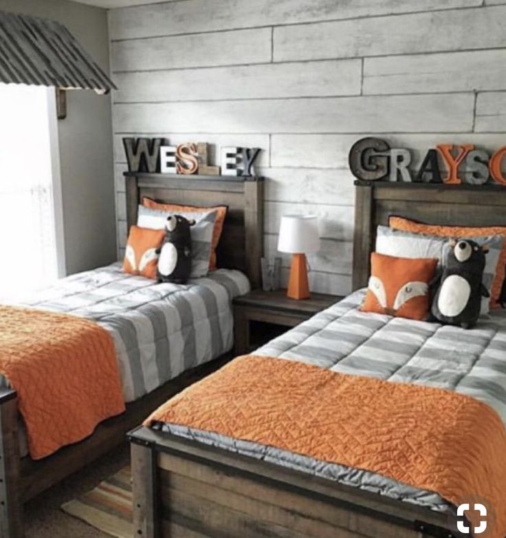 Orange Kids Room: Boys Room Design With Forest Animal Theme. Orange And Gray