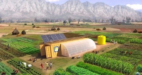 "The solar powered Farm from a Box is a complete, small-scale farming toolkit that includes everything you might need to produce your own food. ""SMA is proud"