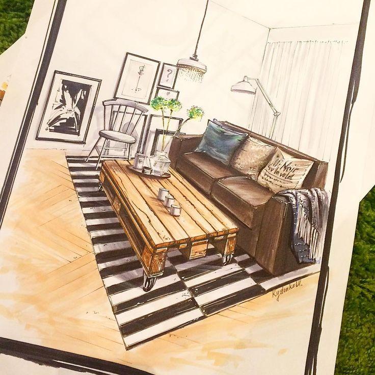 #интерьерныйскетч #интерьер #details #декор #interiorsketch #sketching #sketchschool #copic #marker #interiordesigner