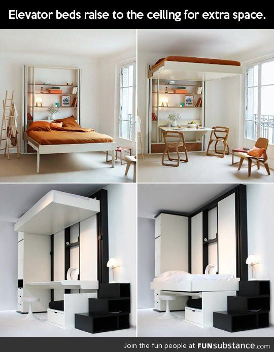 Elevator bed | Small rooms, Tiny house cabin and Storage