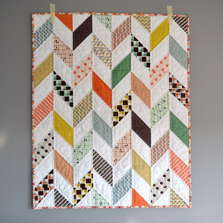 https://flic.kr/p/Egxj8i | Plaid Herringbone Baby Quilt | Modern baby quilt using fabric from the collection Hadley by Denyse Schmidt, and backed with a buck print from the Hello Bear line by Bonnie Christine