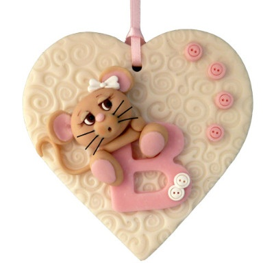 Baby mouse themed initial plaque