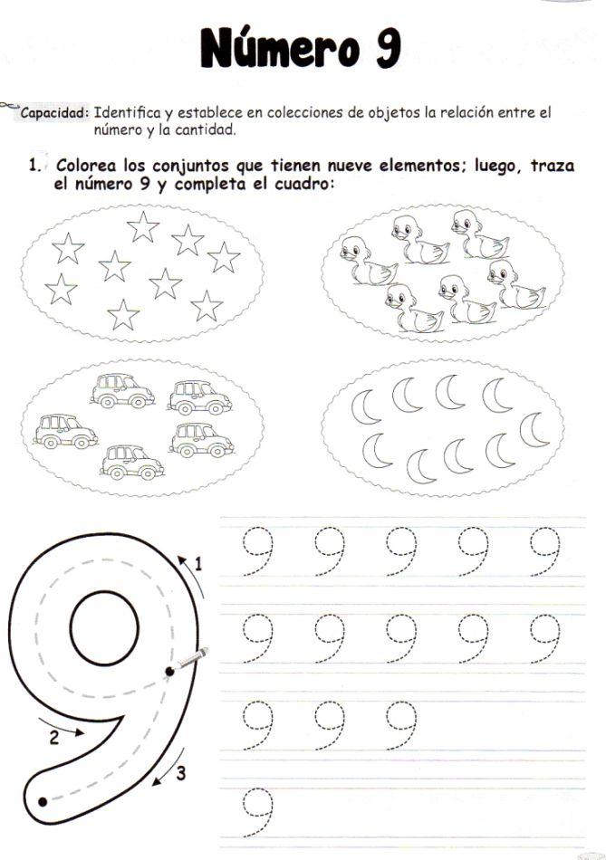 El número 9: 5 años - Material de Aprendizaje