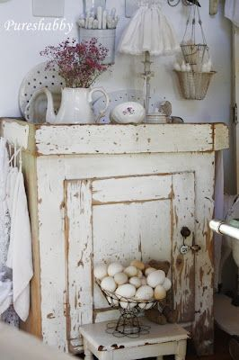 Love the cupboard, & the whole setting :: Eggs in a basket, to enamelware, and on ... and on ...
