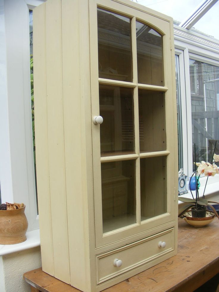 Antique Victorian Solid Pine Shabby Chic Kitchen Cupboard