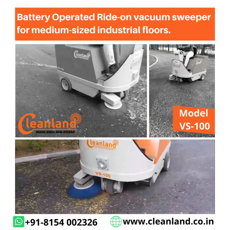 CLEANLAND 'VS100' Battery Operated Rideon vacuum sweeper