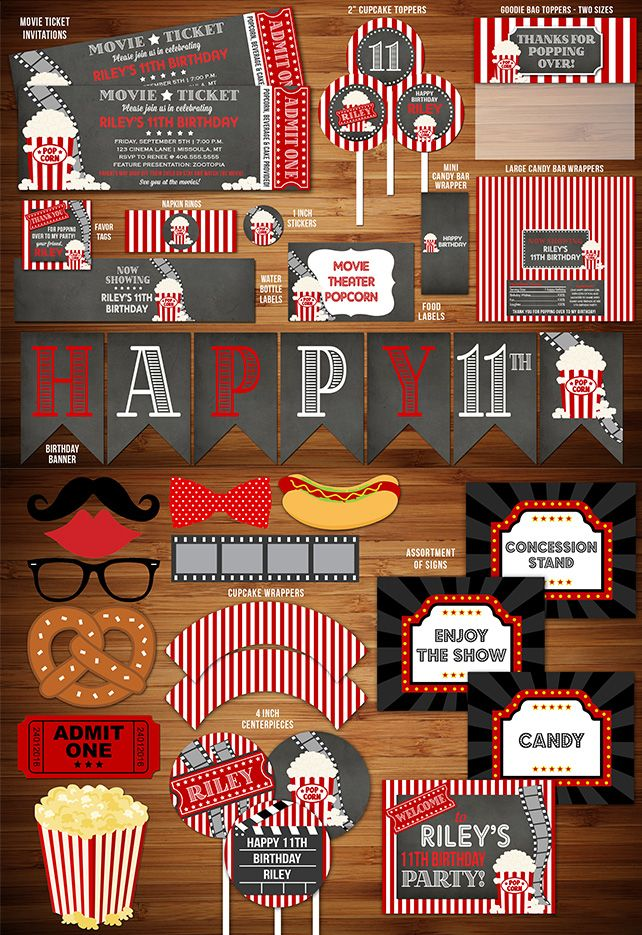 Printable Chalkboard Movie Night Birthday Party Package Decorations | Movie Ticket Birthday Invitation | Movie Under the Stars | Fundraiser Event | Kids Party | Family Movie Night Party | Outdoor Movie | Theater | Popcorn Box | DIY | Digital File | Banner | Cupcake Toppers | Signs | Food Labels | Favor Tags | Water Bottle Labels | www.dazzleexpressions.com