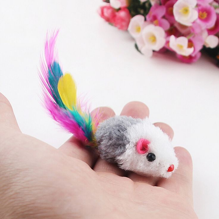 Funny False fur mouse cat toy Kitten Colorful Plush Mini Mouse Toys For Pets Cat Playing #And_Kittens, #Cats