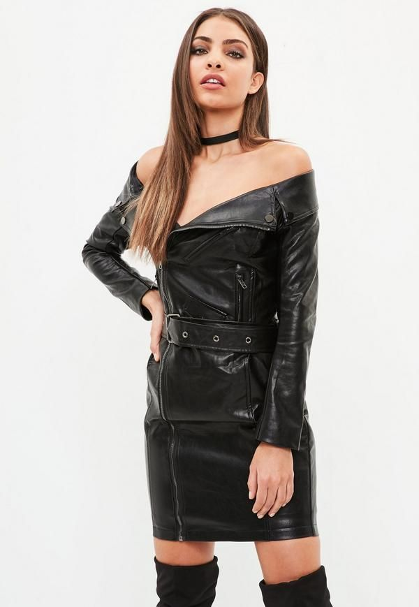 promo codes excellent quality shop A dress in an off shoulder biker style with faux leather ...