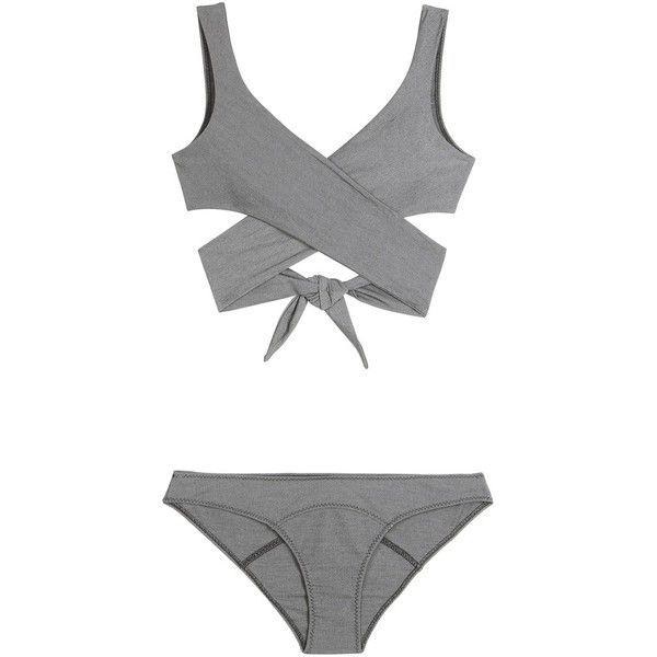 Lisa Marie Fernandez Marie-Louise Wrap Bikini ($490) ❤ liked on Polyvore featuring swimwear, bikinis, swimsuits, grey, wrap bathing suit, bathing suits two piece, bikini bathing suits, bikini swimsuit and grey swimsuit