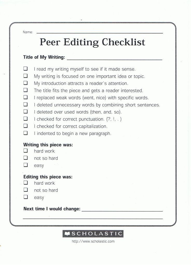 Essay editing checklist for narrative writing