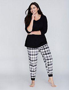 Plaid Long-Sleeve Tee & Fleece Pant PJ Set