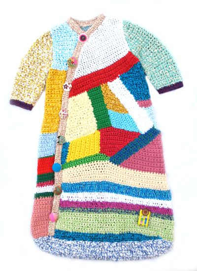 Cute knitted or crocheted but I like it as inspiration for a crazy-quilt style bunting myself.