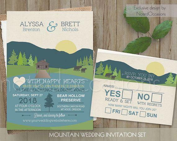 mountain wedding invitation mountain wedding and lake wedding great for camping weddings campground - Camping Wedding Invitations