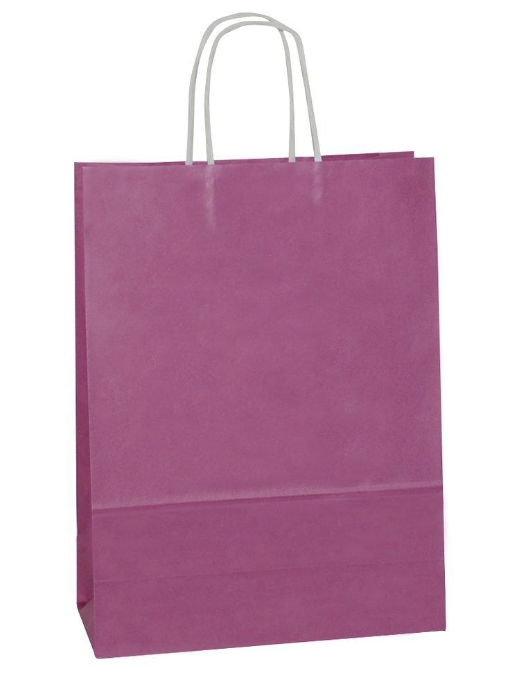 White Carrier Bag Twisted Handle - Solid Purple