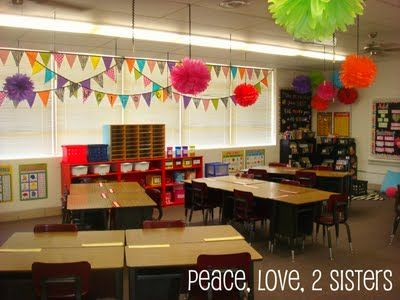 Love the bright banners; big poms; and the black bb with bright borders. . . (Peace, Love, 2 Sisters: Show and Tell Monday- Classroom Tour)