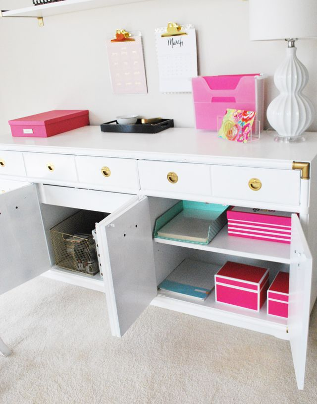 Operation: Organization Amy's Organized {Kate Spade Inspired} Office Space. A vintage console is freshened up with paint, and stores office supplies   11 Magnolia Lane