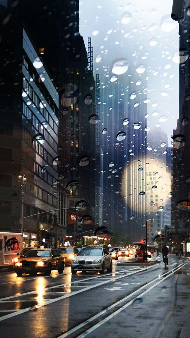 City / rain drops