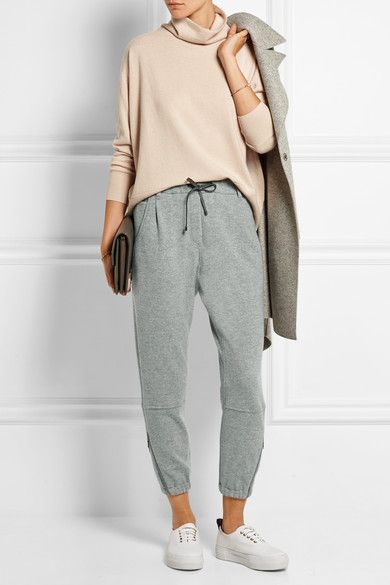 Brunello Cucinelli Wool and cashmere-blend track pants