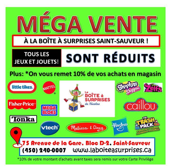 TOUS LES RABAIS SONT SUR NOTRE FACEBOOK! https://www.facebook.com/La-Bo%C3%AEte-%C3%A0-surprises-de-Nicolas-Boutique-de-Jeux-Jouets-et-Passe-temps-101274973567376/ ET DANS LE MAGASIN DE ST-SAUVEUR! PAYEZ MOINS CHER, OBTENEZ EN PLUS, À LA BOITE A SURPRISES!
