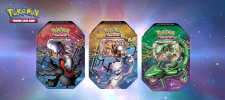 The Pokemon TCG Legendary EX tins are now in stores. These tins contain cards of very powerful Pokemon-EX, including Mewtwo, Rayquaza, and Darkrai.