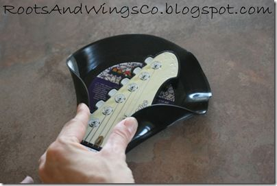 Vinyl Record into guitar hanger