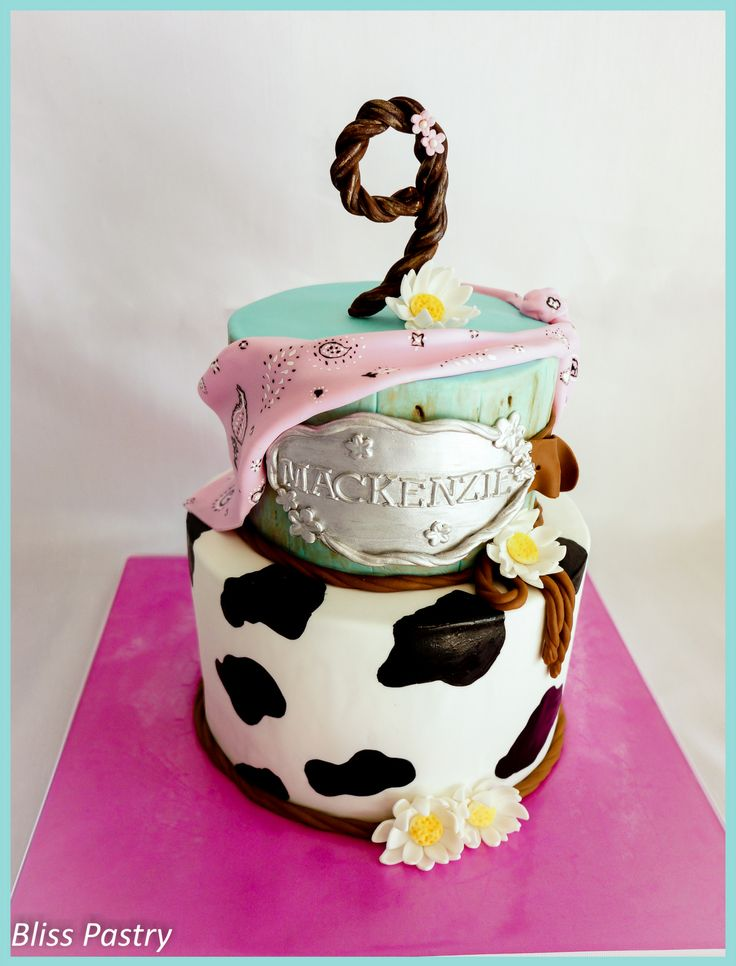 Cowgirl Birthday - Cowgirl cake featuring handpainted pink bandana, shiny belt buckle, daisies and cow print!