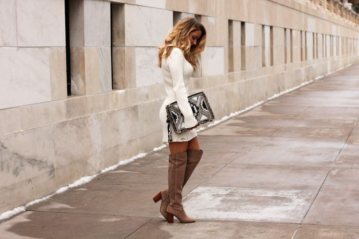 Distressed Sweater Dress + Shearling Coat
