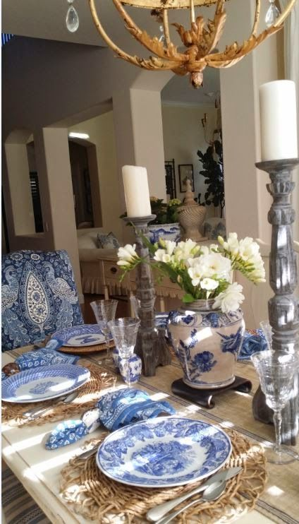 187 best Blue Table Styling images on Pinterest | Harvest table ...
