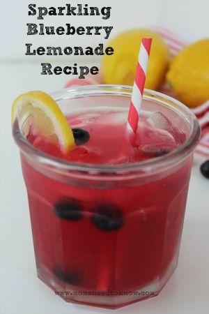 Sparkling Blueberry Lemonade Recipe   Family Friendly Drink!